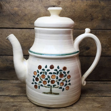 Sly Cat Studio Pottery Teapot - Fruit Tree Design