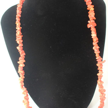 Natural Coral Beaded Necklace/Coral Stone Beads Necklace and Earrings 2 PC Set
