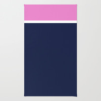 Navy/White/Pink Stripe Area & Throw Rug by Bethany Mallick