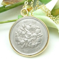 Japanese 100 Yen Coin Pendant 14kt Gold Filled Necklace Chain