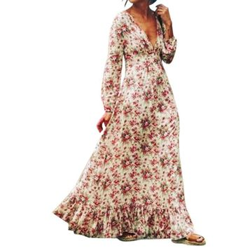 SHIPS FROM USA Long Floral Maxi Dress with Deep V Neck SHIPS FROM USA