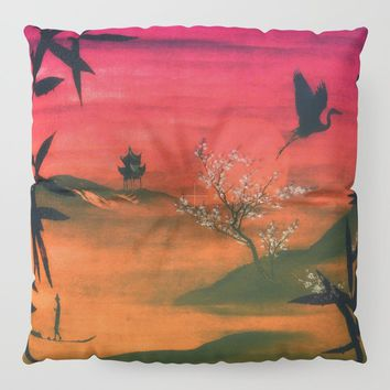 Oriental Sunset Floor Pillow by inspiredimages
