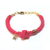 Pink bracelet with star charm, tube bracelet with knot, knit cord bracelet, star bracelet