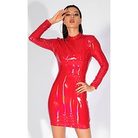 Totally Toxic Red Iridescent Patent PU Faux Leather Long Sleeve Mock Bodycon Mini Dress