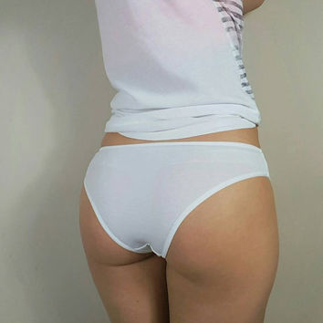 Panties, cotton underwear, white knickers, undergarment and lingerie, gift for her by RedWings
