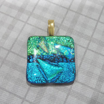 Green and Aqua Blue Pendant, Fused Glass Jewelry, Omega Slide - Saloma  - -5