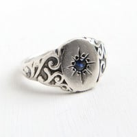 Vintage Art Deco Sterling Silver Sapphire Ring - 1940s Size 6 Art Deco Blue Gemstone Scrolling Filigree Fine Jewelry
