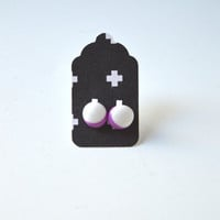 Stud Earrings - White and Plum Purple Stud Earrings - Tiny Stud Earrings - Post Earrings - Colorful Earrings - Handmade Enamel Jewelry Studs