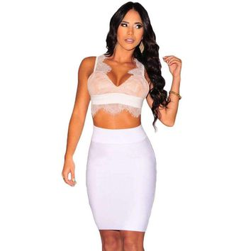 White Fringe Lace Nude Illusion Padded Crop Top