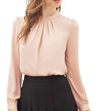 Casual Pleated Neckline Cuff Long Sleeve BLouse