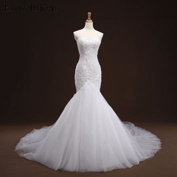 2017 White Appliques Mermaid Lace up Back Wedding Dress With Long Train Beading Bridal Gown Wedding Gown vestito sposa YY105