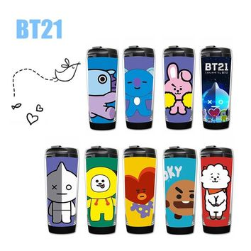Kpop home BTS Bangtan boys bt21 Fans Club harajuku style bottle drinkware Stainless steel double layer image coffee mug tea cup
