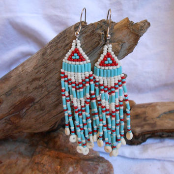 Hand Beaded Earrings, Brick Stitch, Beautiful Turquoise, Red and Shell Color Czech Glass Seed Beads, Bone Beads, Native American Inspired