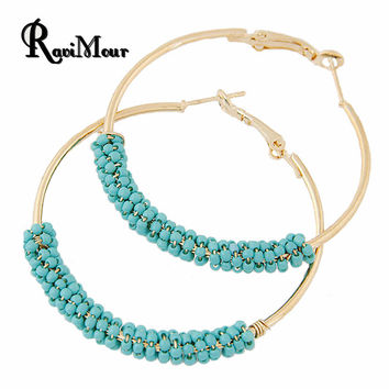 Bohemian Beads Hoop Earrings for Women Jewelry Fashion Gold Round Brincos Boucle d'oreille 2016 New Big Orecchini Bijoux