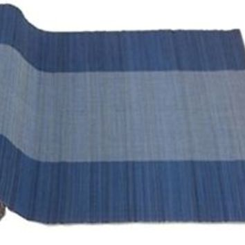 """Tag Bamboo Woven Table Runner Chocolate Blue 18"""" X 76"""""""