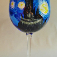 Wine Me Hand Painted Starry Night Wine Glass by WineMe on Etsy