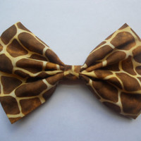 Giraffe Print Fabric Hair Bow, Animal Print Bow, Fabric Hair Bow