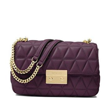 MICHAEL Michael Kors Sloan Large Quilted-Leather Shoulder Bag in Damson