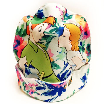 Peter Pan and Wendy Darling Kiss Beanie | Cute Floral Disney Print Hat