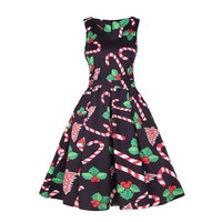 Candy Cane Holly Christmas Holiday Dress Retro 1950s Retro A-Line