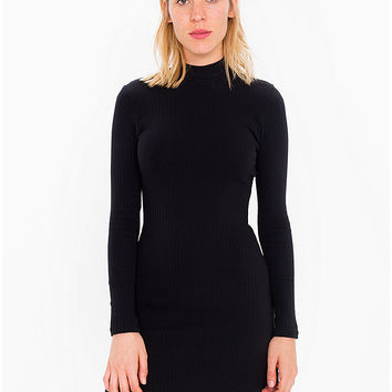 Rib Long Sleeve Mock Neck Mini Dress | American Apparel