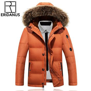 New Winter Casual Duck Down Jackets Zipper Thicken Coat With Fur Collar Men's Down Jackets And Warm Snow Overcoat