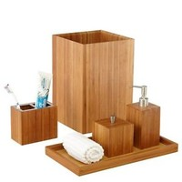 Seville Classics Bamboo Bath and Vanity Set, 5 pcs, Bathroom Accessory Holder