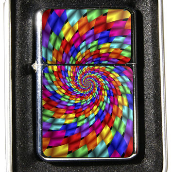 Windproof Customized Chrome Oil Lighter - Psychadelic Spiral - Collectable, Refillable, Damn Cool. :)