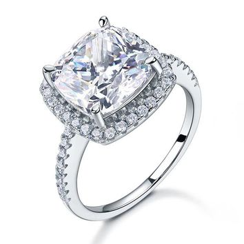 925 Sterling Silver Wedding Engagement Ring 5 Carat Cushion Cut Simulated Diamond Luxury Jewelry