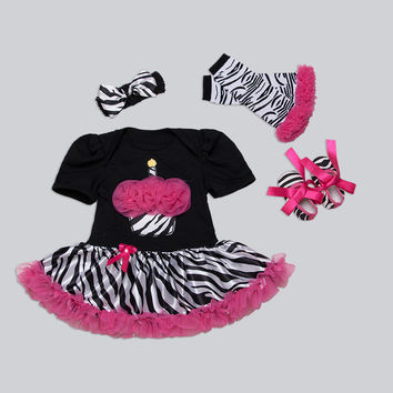 Baby Birthday Clothes Black Zebra Baby Girl Romper Headband & Shoes 3pcs Set Cupcake Tutu Birthday Roupas Newborn Girl Clothes