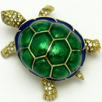 CINER Metallic Enamel Rhinestone High Domed Turtle Figural Brooch Pin