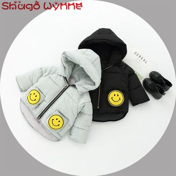 Winter Baby Girls Smiling Face Long Sleeve Hooded Cotton Thick Warm Jacket Coat Kids Outerwear Infant Boys Snow Wear Parkas casa