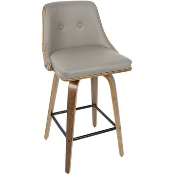 "Gianna 26"" Mid-Century Modern Counter Stool, Walnut & Light Grey PU Leather"