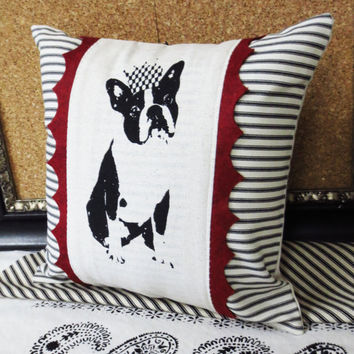 Decorative throw pillow cushion cover with black Boston Terrier or French Bulldog Frenchie in a crown screen print in black