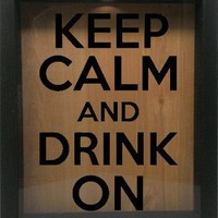 "Wooden Shadow Box Wine Cork/Bottle Cap Holder 9""x11"" - Keep Calm and Drink On"