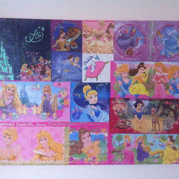 Disney Princesses Canvas Painting  Cinderella Rapunzel by litsakiv