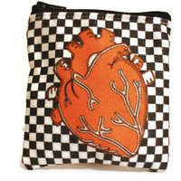 Faux Suede Love For the 80's Heart Zipper Pouch- Fully Lined Zipper Pouch with Black Zipper- FREE U.S. SHIPPING