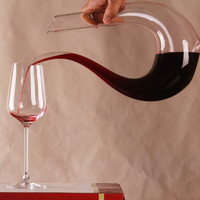 Personality 750ml Clear GlassU-shaped Horn Wine Decanter No Lead Bar Party Accessories Handmade Lead- Glass Wine Dispenser