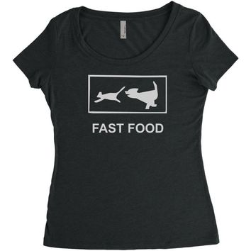 fast food funny Women's Triblend Scoop T-shirt