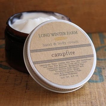 Campfire Skin Cream with Organic Aloe Juice hand by longwinterfarm