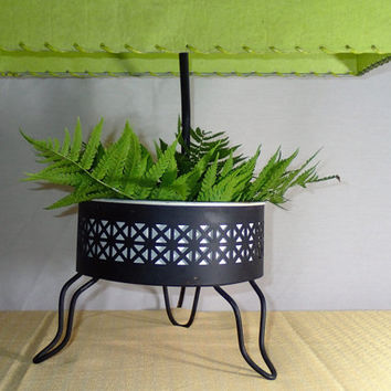 Mid Century Lamp, Stamped Metal planter. Vintage fiberglass laced Lamp Shade