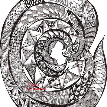 Dreams - 8x10 Zentangle drawing / Zentangle Art spiral black and white Abstract whimsical Woman Illustration Archival print