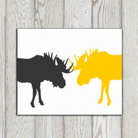 Moose wall art print Gray yellow white decor Deer canvas Woodland decor Office art Fighting moose Printable woodland animal INSTANT DOWNLOAD