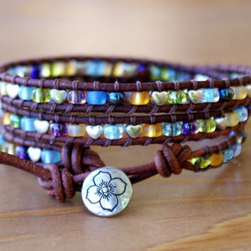 Bohemian beaded leather wrap bracelet, 3 times Wrap, silver flower, mix, multicolor, boho trendy jewelry, hipster, gift idea, SALE