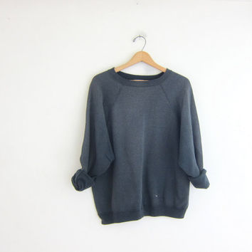 vintage washed out black gray sweatshirt. slouchy sweater. distressed pullover.