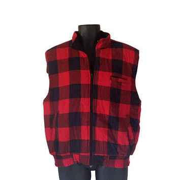 Flannel Vest Buffalo Plaid Vest Men Winter Vest Coat Sleeveless Coat Puffy Vets Puff Vest 80s Vest Insulated Vest Men Outerwear Red Flannel