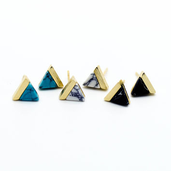 Triangle marble earrings