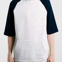 Grey/Navy Raglan Oversized Short Sleeve Hoodie