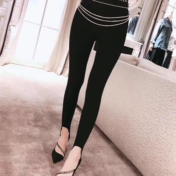 """Masion Wester"" Women All-match Fashion Diamond Chain Leggings Stretch Tight Pants Trousers"