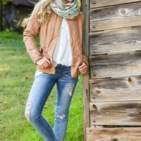 New England Prep Quilted Jacket-Camel